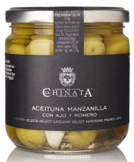 Manzanilla olives with garlic and rosemary La Chinata