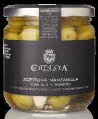 Manzanilla olives with garlic and rosemary La Chinata