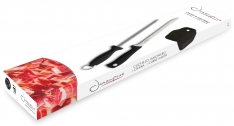 Ham Carving Knife with Honing Steel and Ham Cover | Professional Set for Slicing Serrano, Ibérico Ham & Italian Prosciutto