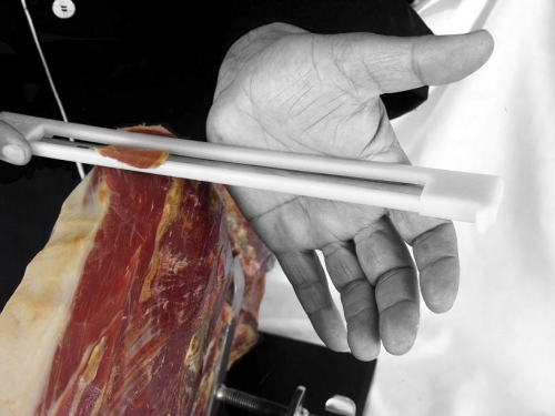 Ham carving knife with anti-accident protection for right-handed and left-handed users image #7