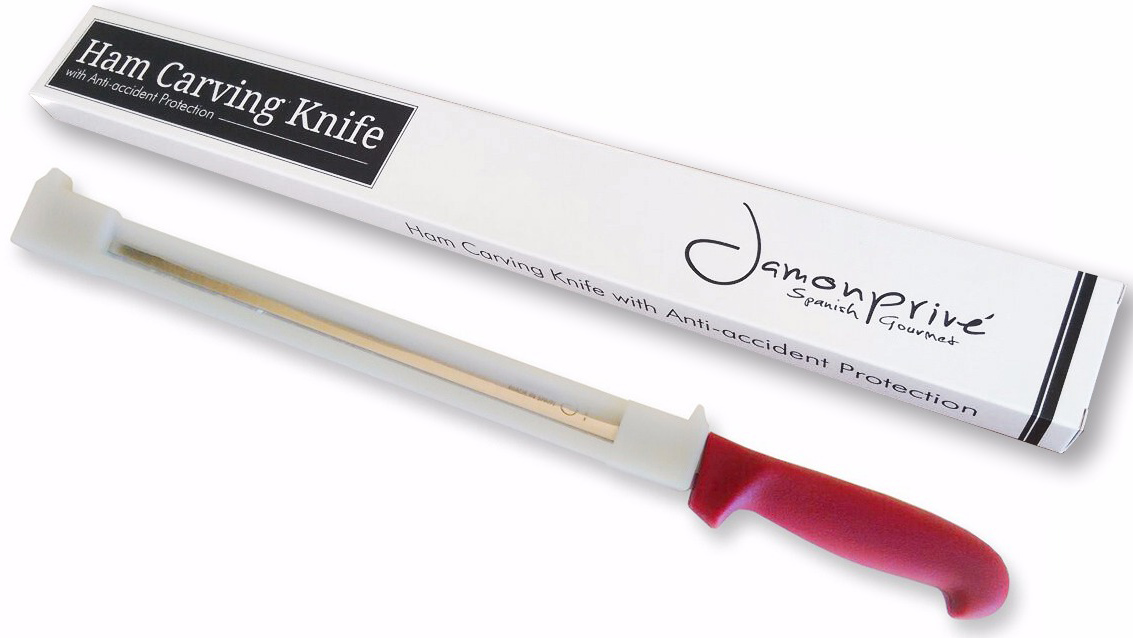 Ham Carving Knife With Anti Accident Protection For Right Handed And
