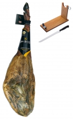 Iberico ham acorn-fed superior quality Don Agustín + ham holder + knife