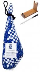 Ibérico Ham 100% Pure Acorn-Fed Casa de Alba + ham stand + knife