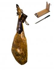 Iberico ham acorn-fed superior quality Don Agustín + ham holder + knife