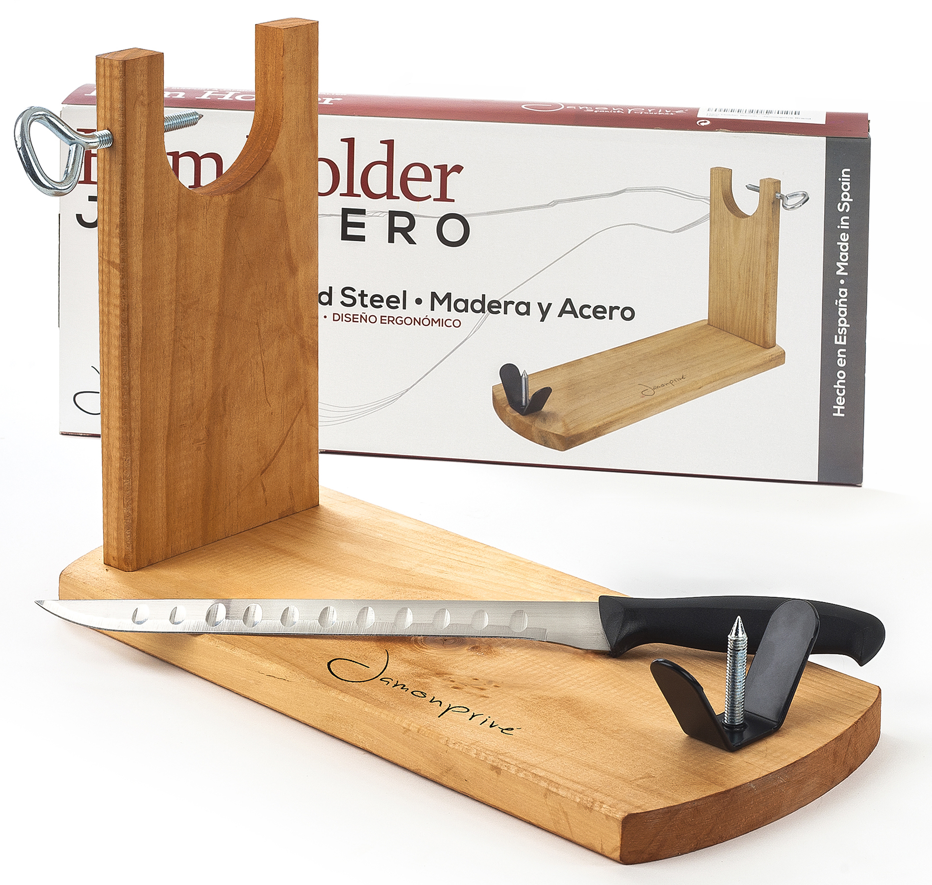 Ham stand and carving knife bench jamonprive holder