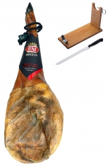 Iberico ham (shoulder) grass-fed Revisan Ibéricos + ham holder + knife
