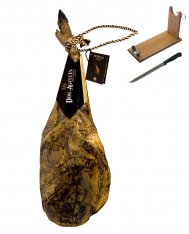 Iberico ham (shoulder) acorn-fed superior quality Don Agustín + ham holder + knife