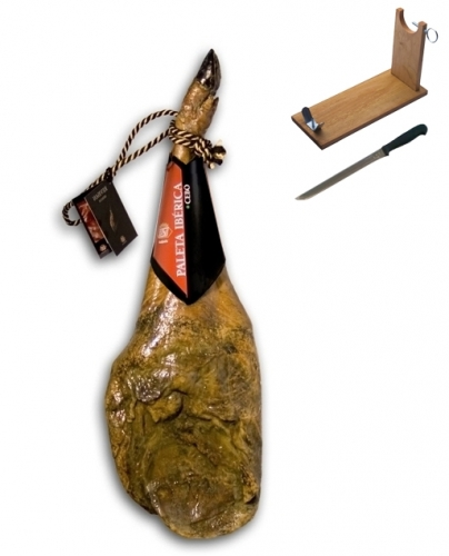 Iberico ham (shoulder) grass-fed certified Revisan + ham holder + knife image #1