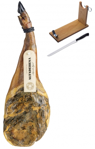 Iberico ham (shoulder) grass-fed Altadehesa + ham stand + knife image #1