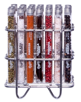 Set of 21 Glass Tubes with Premium Salts, Spices and Botanicals with a Stainless Steel Support image #1