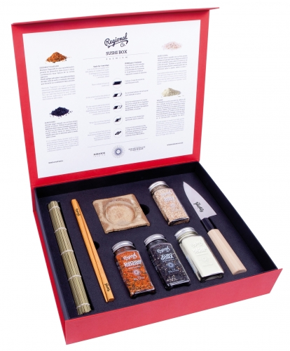 Premium sushi box Regional Co with knife, mat, 4 chopsticks, 2 bowls & 2 chopstick rests image #1