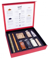 Premium sushi box Regional Co with knife, mat, 4 chopsticks, 2 bowls & 2 chopstick rests