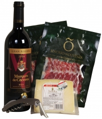 Special christmas red wine and ham selection